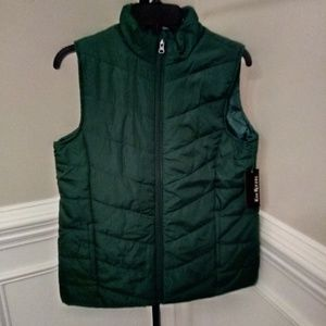 Women's Solid Green Puffer Vest size Small